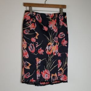 Karen Millen floral pencil skirt with trim detail